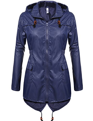 Meaneor Women's Waterproof Raincoat Outdoor Hooded Rain Jacket Solid_Navy Blue XXL