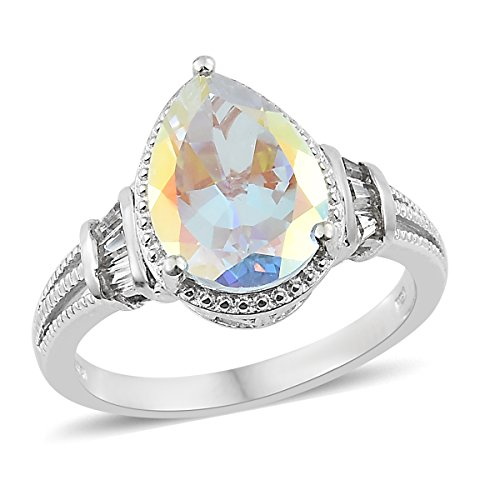 925 Sterling Silver Platinum Plated 4.9 Cttw Pear Mercury Mystic Coated Topaz White Topaz Ring Size - Topaz Platinum Mystic