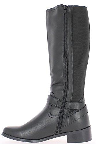 Absatz cm von Reitwegen 4 Stiefel dekorativen 5 mit Halterungen und schwarze tZxHFO