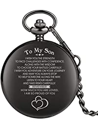 "Engraved Pocket Watch, Pocket Watch for Boy, Personalized Gift""to My Son"" Black Full Hunter Pocket Watch"