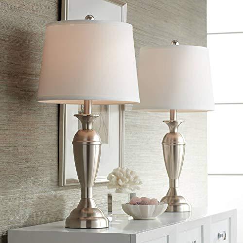 Blair Modern Table Lamps Set of 2 Brushed Steel Metal White Drum Shade for Living Room Family Bedroom Bedside Nightstand – Regency Hill