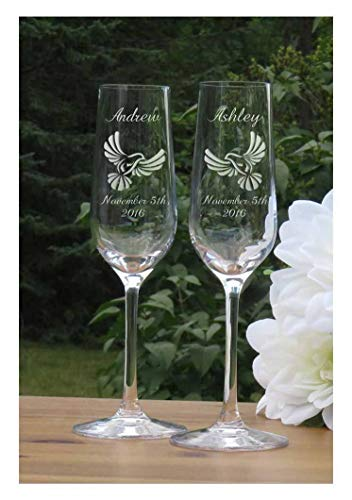 Dove Champagne Flutes - Wedding Lead Free Crystal Glasses ()