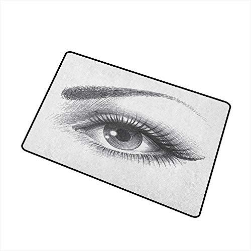 Sillgt Eye Pet Doormat Pencil Drawing Artwork of a Staring Female Eye with Long Lashes and a Curvy Eyebrow with No-Slip Backing 20