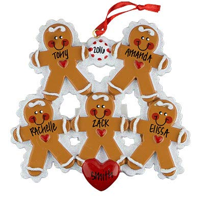 Gingerbread Family of 5 Personalized Ornament - (Unique Christmas Tree Ornament - Classic Decor for A Holiday Party - Custom Decorations for Family Kids Baby Military Sports Or ()