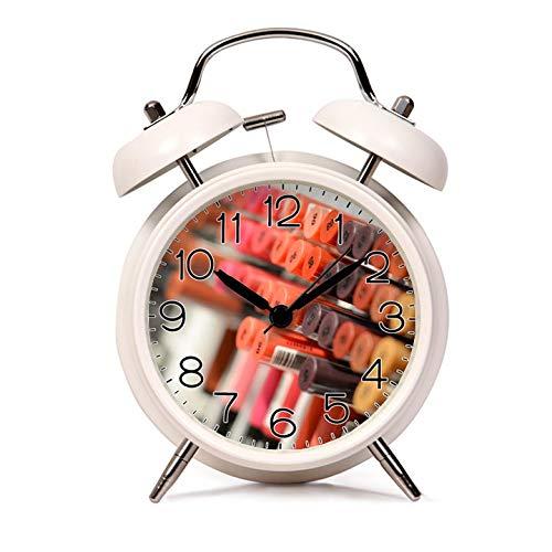 GIRLSIGHT Alarm Clock for Kids Child Retro Silent Pointer Alarm Clock Strong Bedside Tables Cute Loud Alarm Light House Decorations 411.Matte Lipsticks(White)