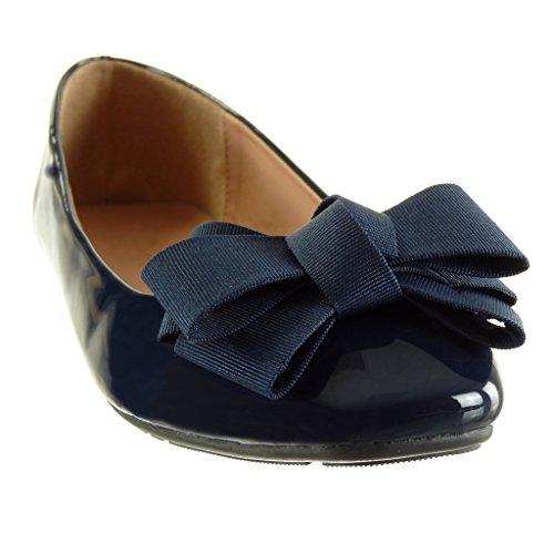 Cm Muoti Solmu Baletti Tasainen Slip Patenttia Solmu on Angkorly Kengät Sininen Kantapää 1 Naisten Hq65WRw7