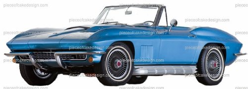 1/4 - Blue Classic Sports Car Birthday - Edible Cake/Cupcake Topper -