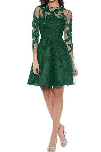 Spitze A Festkleid Tuell Abendkleid 3 Damen Applikation Grün Ballkleid Partykleid Linie 4 Ivydressing Rundkragen Mini Aermel 5tOYcqwwC