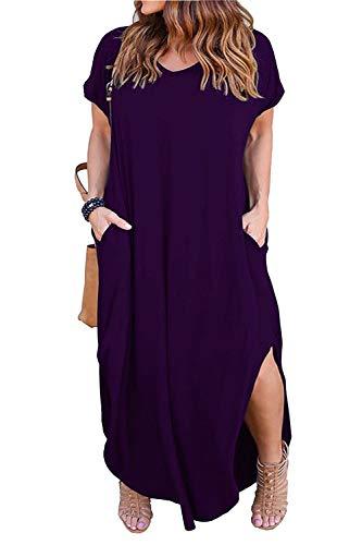 3d3823f6381 Nemidor Women s Casual Loose Pocket Long Dress Short Sleeve Plus Size Slit Maxi  Dress (14W