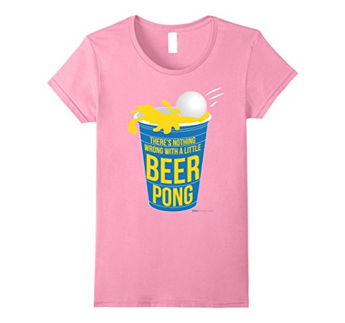 Womens Nothing wrong with a little Beer Pong Drink Champ T Shirt Small (Beer Pong Womens Pink T-shirt)