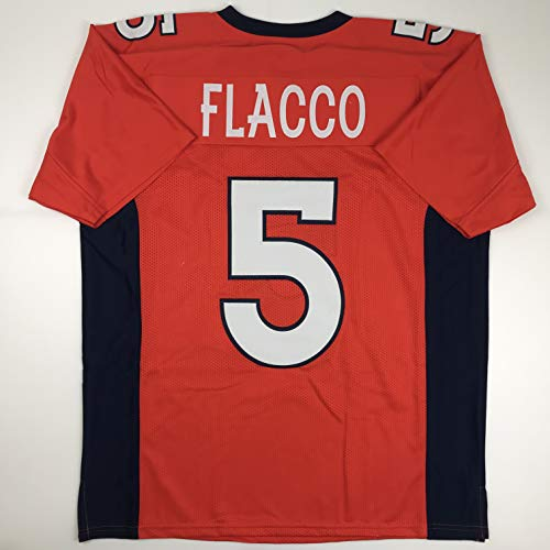 Unsigned Joe Flacco Denver Orange Custom Stitched Football Jersey Size Men's XL New No Brands/Logos (Broncos Football Jerseys For Men)