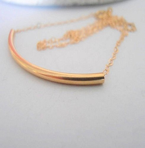 Amazon Com Dainty Gold Filled 14 20k Chain Tube Pendant Necklace