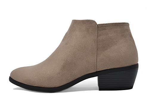 TOETOS Damen Cowboy Blockabsatz Seitlicher Reißverschluss Ankle Booties 01-Taupe