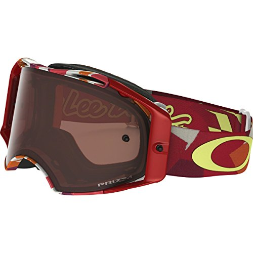 Oakley Airbrake MX TLD Adult Off-Road Motorcycle Goggles Eyewear - Splinter Orange Red/Prizm MX Bronze/One Size Fits - Strap Goggles Oakley