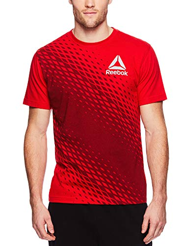 Reebok Men's Graphic Workout Tee - Short Sleeve Gym & Training Activewear T Shirt - Vortex Racing Red, - Intensity Soccer T-shirt