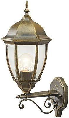 MW-Light 804020101 Apliques Para Exterior Aluminio Clásico Color Dorado Antiqued Cristal Transparente en Jardín O Hogar Rural Ip44 1 Bombilla Exl, E27 1X100W 230V: Amazon.es: Iluminación
