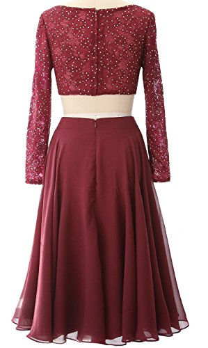 Elegant Lace Piece Weinrot Dress MACloth Prom Gown Cocktail Formal Long Short Sleeve 2 8SEZTdq