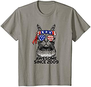 Kids Awesome Since 2009 10th Birthday  Cat USA American Flag T-shirt | Size S - 5XL