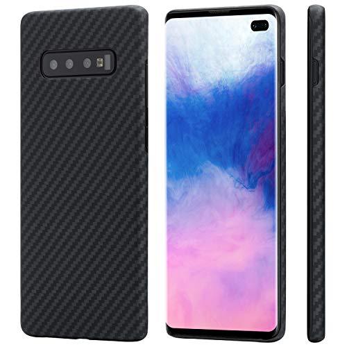 Minimalist Samsung Galaxy S10+ Case 6.4, PITAKA MagCase [Aramid Fiber] Super Slim fit Soft Touch Sturdy Durable Case Snap-on Back Cover Wireless Charging Friendly Matte Finish - Black/Grey(Twill)