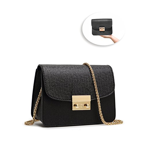 Leather Small Evening Bag (Women's PU Leather Handbags Fashion Small Chain Shoulder Strap Bag Quilted Crossbody Bags(Pure Black))
