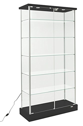 Showcase Vision - Displays2go Full Vision Showcase, Laminated MDF in Woodgrain, Tempered Glass, Top Lights - Black, Silver (193CPLEDBV)