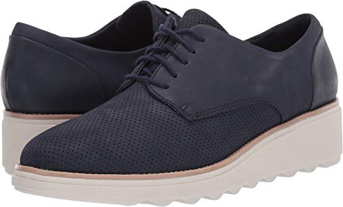 CLARKS Women's Sharon Crystal Oxford Navy Nubuck/Leather Com