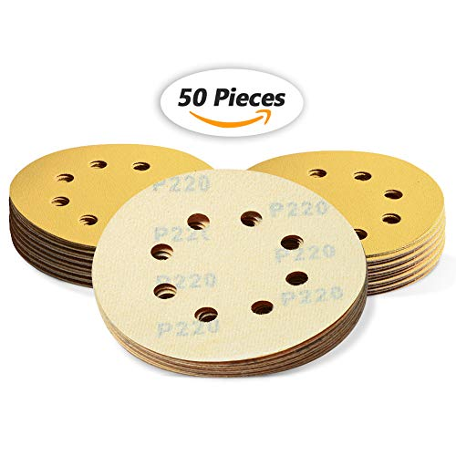 SPEEDWOX 50 Pcs 5 Inches 8 Hole Sanding Discs 220 Grit Dustless Hook and Loop Sandpaper for Random Orbital Sander Yellow Finishing Discs for Automotive Woodworking from SPEEDWOX