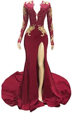 86ecbd62dfd1 Graceprom Women's 2019 Backless Mermaid Prom Dresses Gold Lace Appliques  Side Slit Long Sleeves Evening Gown