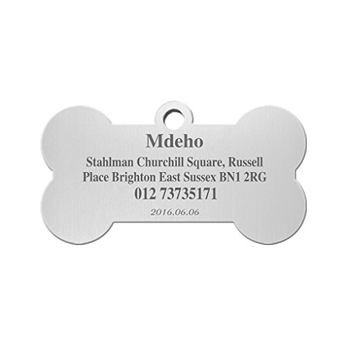 Stainless Steel Pet ID Tags Bone Shape Dogs Cats Personalized&Engraved Custom Identification Tag Charm Customized Pet Name,Owner Name,Telephone Number,Address Pet ID Plate Collar Gift ()
