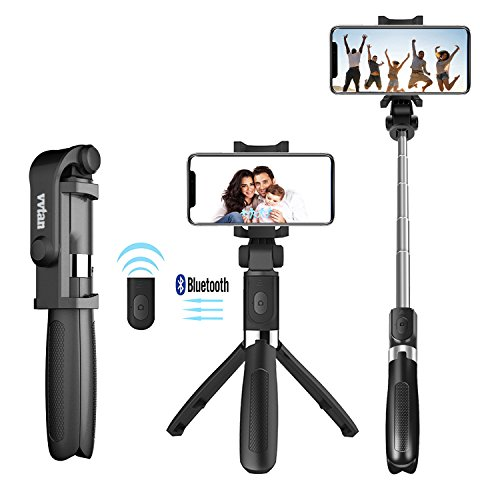 Portable Lightweight Selfie Stick, Bluetooth Selfie Stick Tripod with Removable Wireless Remote Shutter, Extendable Mini Handheld Selfie Stick for iPhone, Android Samsung,Huawei,LG,More by vvtan