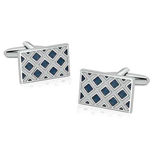 Men Stainless Steel Cufflinks Enamel Lattice Rectangle White Blue Cufflinks 1.2X2.1CM Dad Unique Jewelry Box Fancy Charm Aooaz