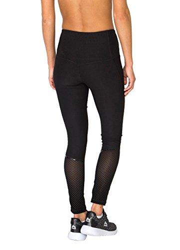 RBX Active Women's Full Length Lazer Cut Leggings with Flocked Mesh Black S