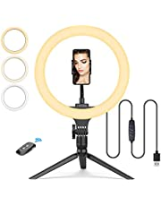 """10"""" Ring Light with Tripod Stand & Phone Holder, Tryone LED Selfie Ringlight with Bluetooth Remote for Makeup/Live Streaming/YouTube Video/Photography"""