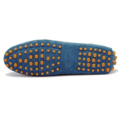Minishion Tyb9602 Casual Mocasines De Cuero De Gamuza De Las Mujeres Zapatos De Conducción Penny Moccasins Flats Pavo Real Azul