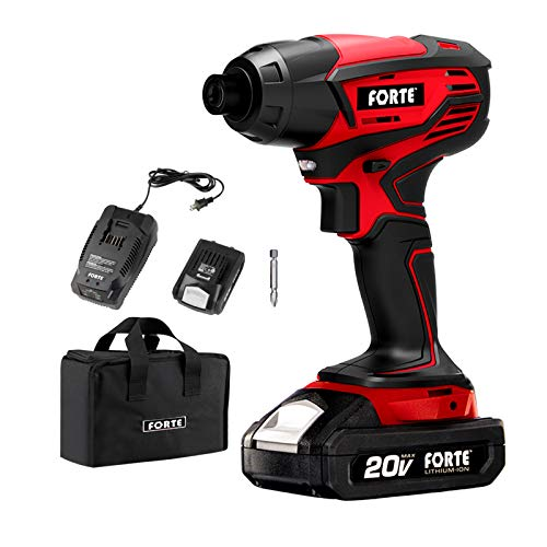 Forte Cordless Drill Driver Impact Driver Cordless Power Tool with Lithium-Ion Batteries, Charger and Storage Bag included