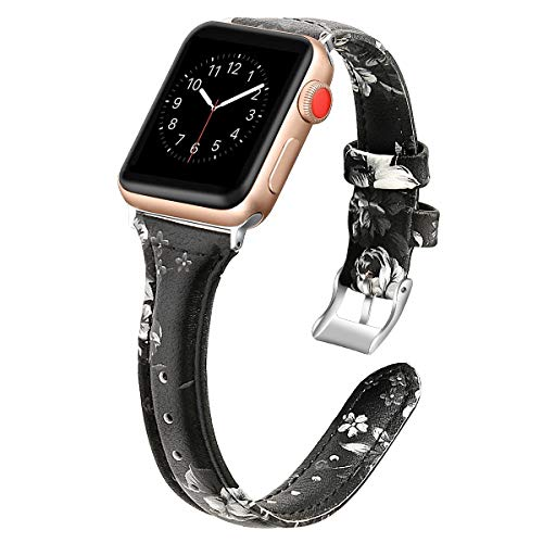 (YUNSHU Compatible with Apple Watch Band Replacement Wristband for Apple Watch Series 4 3 2 1 38/40mm with Flower Premium Genuine Leather Metal Plating Buckle iWatch Sport Strap (Black/Grey Floral))