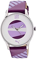 Puma Womens White & Purple Dial Stainless Steel Case LOGO Leather Strap Watch PU102832001