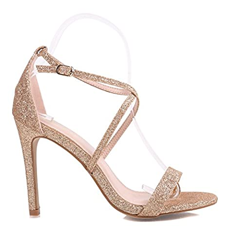 "Fashion Sexy Glitter Patent Strappy Sandals Women 4.25"" Fancy Stiletto High Heels Party Formal Dress Shoes (7, - Patent Strappy Stiletto Heel"
