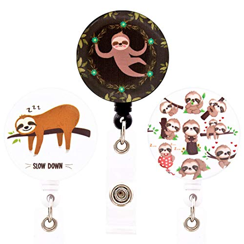 HEYGOO Cute Sloth Badge Holder, Retractable ID Name Card Badge Reel with Swivel Alligator Clip, Pack of 3 (S3)