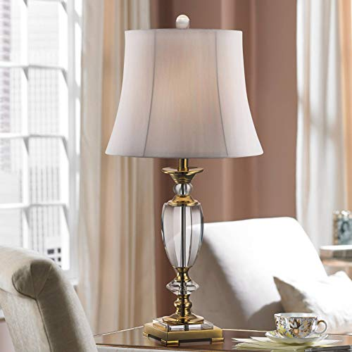 Traditional Table Lamp Faceted Crystal and Brass Bell Fabric Shade for Living Room Family Bedroom Bedside - Vienna Full Spectrum (Traditional Brass Desk Lamps)