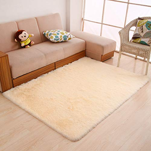 Solid Rectangular Area Rugs Soft Shag Living Room Children Bedroom Rug Anti-Slip Plush Carpets Home Decor Modern Indoor Outdoor Runners Nursery Beige 5' X 8'