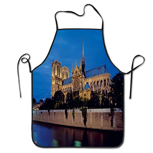 Riverside Notre Dame Paris Facade Cooking Bib Apron Waterproof Kitchen Apron Creative Barbecue Baking Aprons For Women Men Chef ()