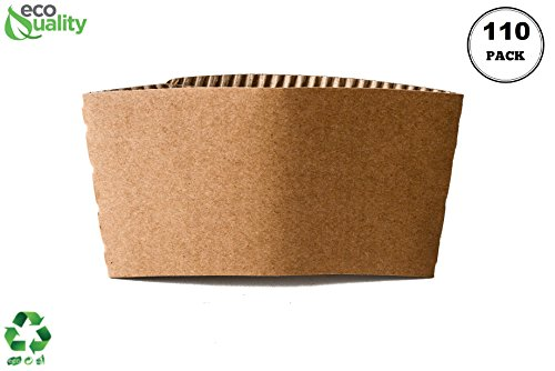 EcoQuality 110 Pack Hot Cup Sleeves - Corrugated Coffee Cup Sleeves - Protective Corrugated Disposable Paper Cup Jackets - Fits most 10oz, 12oz, 16oz, 20oz - 100% Recyclable
