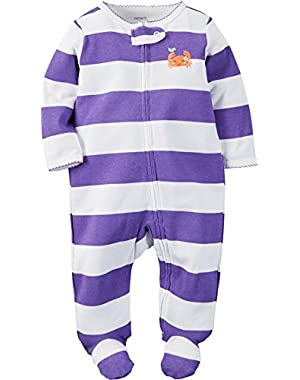 Carters Baby Clothing Outfit Girls Sleep & Play Crab Stripe