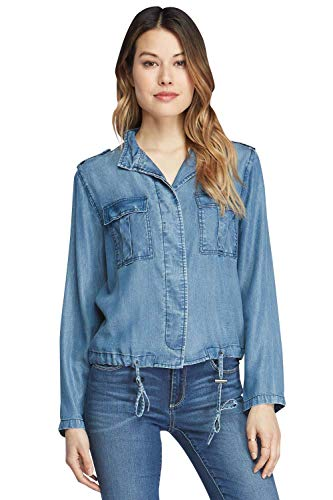 VELVET HEART 'Risley' - Women's Chambray Drawstring Shirt; Lightweight, Transitional Denim Jacket. Comfy, Cool & Eco-Friendly.