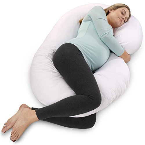 : PharMeDoc Full Body Pregnancy Pillow - Maternity Pillow for Pregnant Women - C Shaped Body Pillow w/ 100% Cotton Pillow Cover