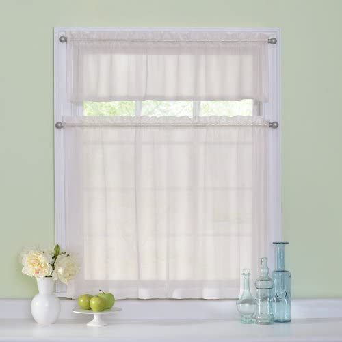 Curtain Fresh Arm and Hammer Rod Pocket Curtains for Kitchen and Bathroom, Double Panel, 56 x 36 , Ivory