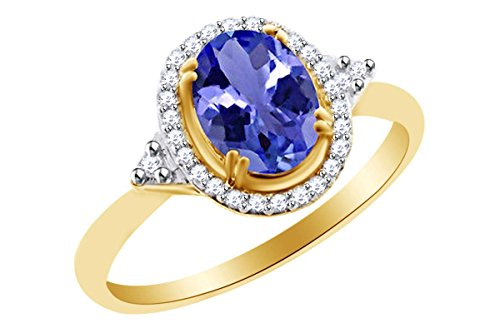Simulated Tanzanite & White Topaz Solitaire Ring In 14k Yellow Gold Over Sterling Silver (1 cttw) Ring Size-5.5 - 14k Oval Tanzanite Ring