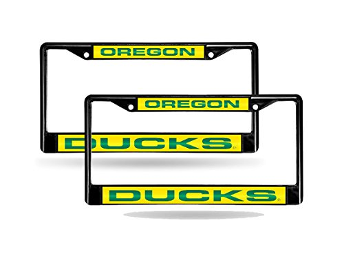 Rico Oregon Ducks NCAA Black Metal (2) Laser License Plate Frame Set