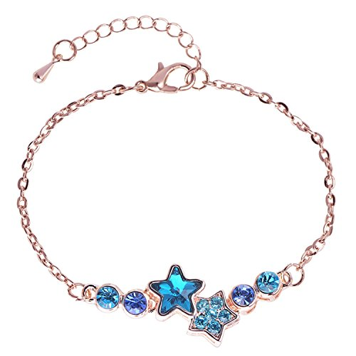 Robert Reyna rose gold jewelry women's bracelet small fresh bracelet,Color blue + rose ()